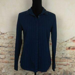 Ann Taylor LOFT S The Softened Blue Jeweled Shirt